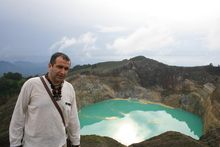 Kelimutu lakes, Turquoise coloured lake..