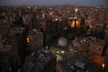 Sana'a by night, from the rooftop of hotel Burj al Salam