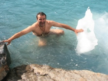 Swimming with icebergs, 4500 m